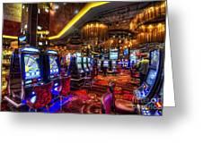 Vegas Slot Machines Greeting Card by Yhun Suarez