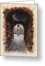 Venetian Courtyard 01 Elena Yakubovich Greeting Card by Elena Yakubovich
