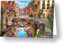 Venetian Waterway Greeting Card by Dominic Davison