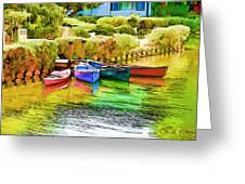 Venice Canoes Greeting Card by Chuck Staley