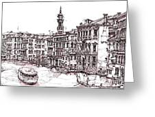 Venice In Pen And Ink Greeting Card by Lee-Ann Adendorff