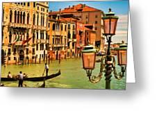 Venice Street Lamp Greeting Card by Mick Burkey