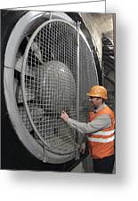 Ventilation Fan In Moscow Metro Greeting Card by Science Photo Library