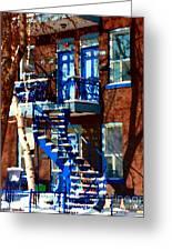 Verdun Duplex Stairs With Birch Tree Montreal Winding Staircases Winter City Scene Carole Spandau Greeting Card by Carole Spandau
