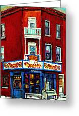 Verdun Landmarks Pierrette Patates Resto Cafe  Deli Hot Dog Joint- Historic Marquees -montreal Scene Greeting Card by Carole Spandau