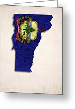 Vermont Map Art With Flag Design Greeting Card by World Art Prints And Designs