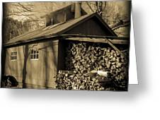 Vermont Maple Sugar Shack circa 1954 Greeting Card by Edward Fielding