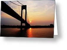 Verrazano Bridge At Dawn Greeting Card by Susan Savad