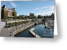 Victoria Harbour With Empress Hotel Greeting Card by Carol Groenen