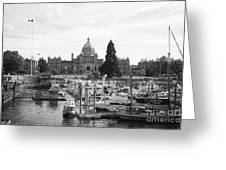 Victoria Harbour With Parliament Buildings - Black And White Greeting Card by Carol Groenen