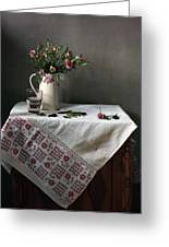 Victorian Style Still Life With Pink Roses Greeting Card by Helen Tatulyan