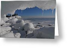 View From An Ice Cave Greeting Card by Sandra Updyke