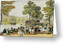 View From The North Bank Of The Serpentine Greeting Card by Philip Brannan