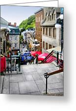 View From The Stairs Old Quebec City  Greeting Card by Ann Powell