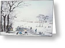 View Of Buckingham House And St James Park In The Winter Greeting Card by John Burnet