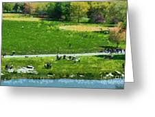View Of Great Lawn In Central Park Greeting Card by George Atsametakis