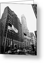 view of pennsylvania bldg nelson tower and US flags flying on 34th street new york city Greeting Card by Joe Fox