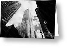 View Of The Empire State Building And Surrounding Buildings And Cloudy Sky West 33rd Street New York Greeting Card by Joe Fox
