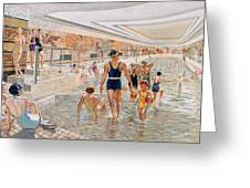 View Of The First Class Swimming Pool Greeting Card by French School