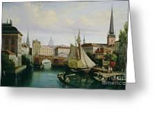 View Of The Riddarholmskanalen Greeting Card by Gustav Palm