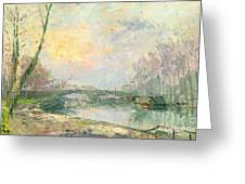 View Of The Seine Paris Greeting Card by Albert Charles Lebourg