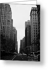 View Up 6th Ave Avenue Of The Americas From Herald Square In The Evening New York City Winter Greeting Card by Joe Fox