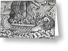 Viking Ship Greeting Card by German School