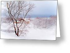 Village Under The Snow. Russia Greeting Card by Jenny Rainbow