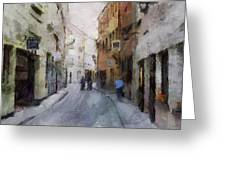 Vilnius Old Street Walk 3 Greeting Card by Yury Malkov