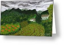 Vineyard And Haystacks Under Stormy Sky Greeting Card by Vicki Maheu
