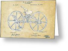 Vintage 1869 Velocipede Bicycle Patent Artwork Greeting Card by Nikki Marie Smith