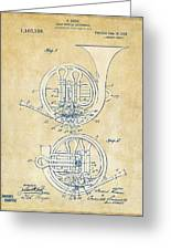 Vintage 1914 French Horn Patent Artwork Greeting Card by Nikki Marie Smith