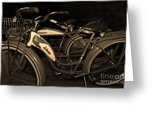 Vintage 1941 Boys And 1946 Girls Bicycle 5d25760 Sepia1 Greeting Card by Wingsdomain Art and Photography