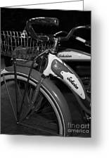 Vintage 1941 Boys And 1946 Girls Bicycle 5d25760 Vertical Black And White Greeting Card by Wingsdomain Art and Photography
