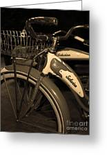 Vintage 1941 Boys And 1946 Girls Bicycle 5d25760 Vertical Sepia1 Greeting Card by Wingsdomain Art and Photography