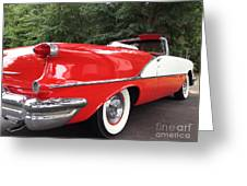 Vintage American Car - Red and White 1955 Oldsmobile Convertible Classic Car Greeting Card by Kathy Fornal