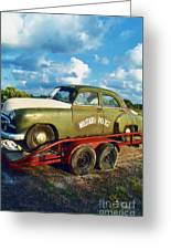 Vintage American Military Police Car Greeting Card by Kathy Fornal