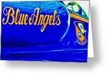 Vintage Blue Angel Greeting Card by Benjamin Yeager