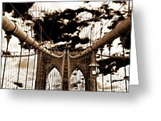 Vintage Brooklyn Bridge Greeting Card by John Rizzuto