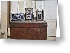Vintage Cameras At Warehouse 54 Greeting Card by Toni Hopper