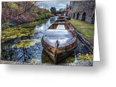 Vintage Canal Boat Greeting Card by Adrian Evans