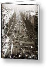 Vintage Champs Elysees Greeting Card by John Rizzuto
