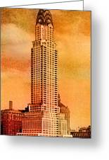Vintage Chrysler Building Greeting Card by Andrew Fare