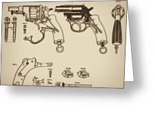 Vintage Colt Revolver Drawing Greeting Card by Nenad Cerovic