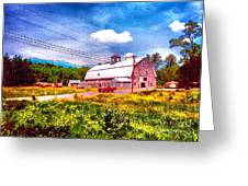 Vintage Country Landscape Greeting Card by Annie Zeno