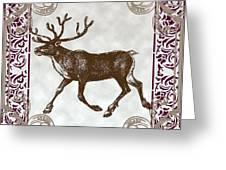 Vintage Deer Artowrk Greeting Card by Art World