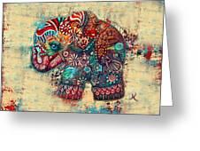 Vintage Elephant Greeting Card by Karin Taylor