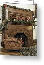 Vintage Fireplace Decorated For Christmas Greeting Card by Lynn Palmer