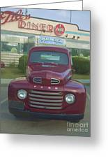 Vintage Ford Truck Outside The Tiltn Diner Greeting Card by Edward Fielding