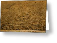 Vintage Fort Worth Texas in 1876 City Map On Worn Canvas Greeting Card by Design Turnpike